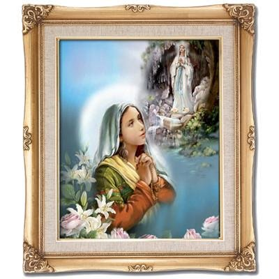 St. Bernadette with Our Lady of Lourdes Framed Art by Discount Catholic Store