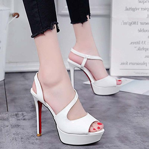 Xing Lin Zapatos De Verano Para Las Mujeres Cuñas La Chica Con La Ultra-Fino De Noche De Verano Con Exposición De Conjuntos Impermeables Pie Luz Blanca Pura La Boca De Pescado Sandalias White
