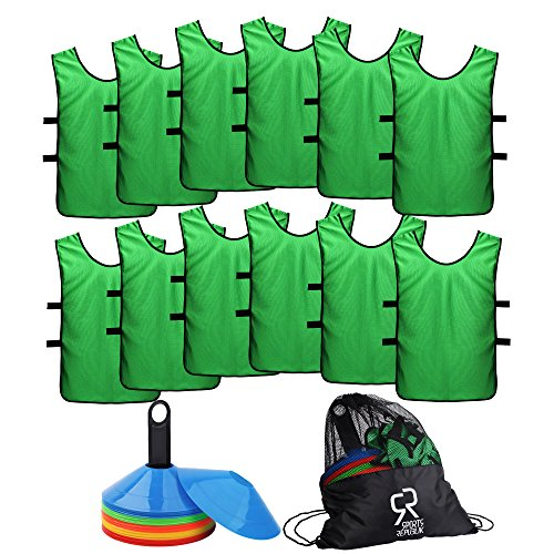 Soccer Cones (Set of 50) and Sports Jerseys Pinnies (12-pack) | Perfect Disc Cones for Basketball Drills, Complete Soccer Training Equipment | Agility Cones for Soccer Drills or Football Equipment