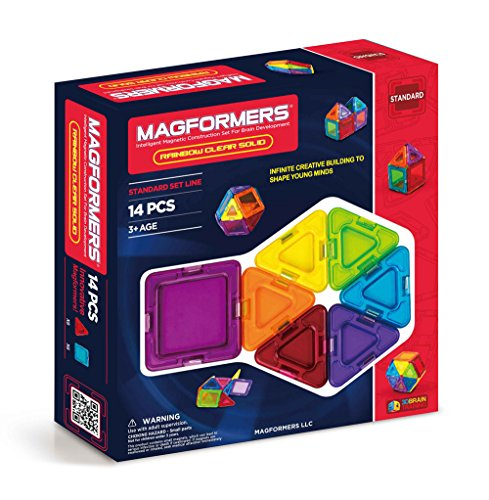 Magformers Rainbow Clear Solid 14 pieces