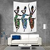 smallbeefly African Woman Wall Hanging Tapestries Religious Dance Performed by African Women in Traditional Ethnic Dresses Large tablecloths 54W x 84L INCH Multicolor