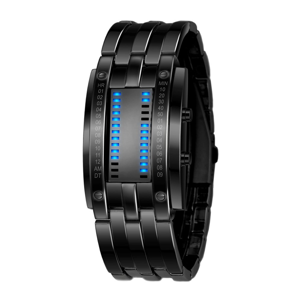 BDQFEI(TM) Men's waterproof smart Bracelet with LED display multi-function sleep monitoring pedometer Calorie calculation Compatible bluetooth Android apple system Smart Wristband watch