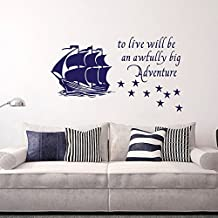 """Wall Decal Decor Peter Pan Wall Decal Quote to Live Will Be an Awfully Big Adventure - Vinyl Sticker Pirate Ship Stars Kids Baby Boy Nursery Decor(Black, 19.5""""h x34""""w)"""