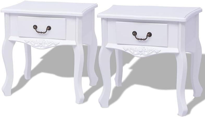Tidyard Armadietti da Letto 2 Pezzi MDF Bianco,Comodino in Stile Shabby Chic,Camera da Letto Comodino Moderno Design