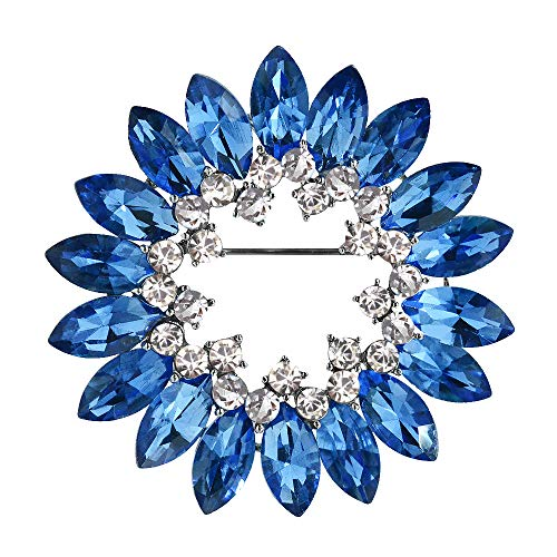 Mamfous Gorgeous Blue Crystal Rhinstone Round Flower Brooches for Women Wedding Jewelry Accessories