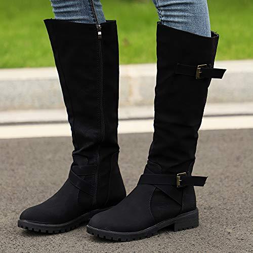 Arme Zip Punk Bottes La Motard De Femmes Banaa Mollet Genou Dames Sur Noir Combat Le Militaires Plus Taille Chaussures Bottes IF6PFvwx