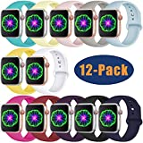 DGege Compatible with Apple Watch Band 38mm 40mm Small Medium for Women Men Silicone Sport Replacement Band Compatible with iWatch Series 3 Series 4 Series 2 Series 1 12-Pack