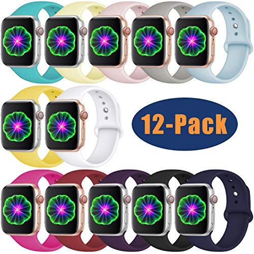 DGege Compatible with Apple Watch Band 42mm 44mm, Small/Medium, for Women Men, Silicone Sport Replacement Band Compatible with iWatch Series 3, Series 4, Series 2, Series 1, 12-Pack ()