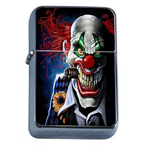Evil Clowns Scary Horror Flip Top Oil Lighter S9 Smoking Cigarette Smoker Includes Silver Case (Evil Clown Lighter)