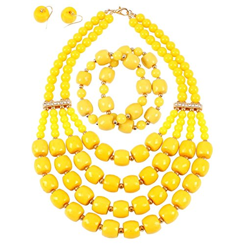 Beaded Yellow Jewelry Set - KOSMOS-LI Women's Popular Beaded Yellow Layered Statement Necklace Bracelet Earrings Set