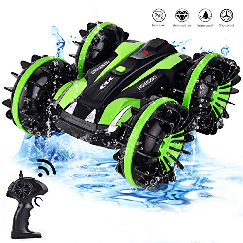 Mayzo Waterproof Remote Control Car Boat Truck 4WD 2.4Ghz Amphibious RC Stunt Car Rechargeable Double Sided Stunt Vehicle Toy Water and Land 360 Degree Spins and Flips Gift for Boys 5-14 Year Old Blue (8 Wheel Drive Amphibious Off Road Vehicle)