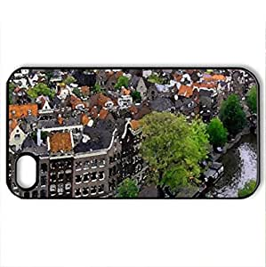 Beautiful City - Case Cover for iPhone 4 and 4s (Houses Series, Watercolor style, Black)