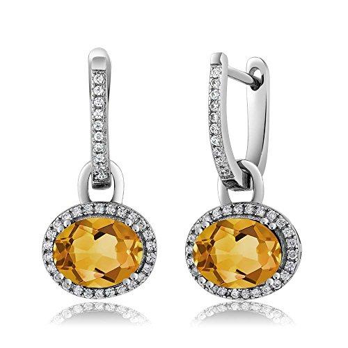 Sterling Silver Stunning Oval Gemstone Birthstone Dangling (Antique Citrine Earrings)