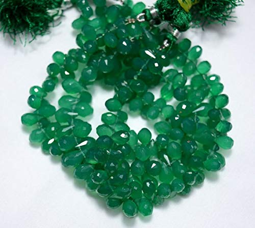 GemAbyss Beads Gemstone Green Onyx Tear Drops Beads, Green Onyx Faceted Cut Drops Side Drill Briolettes Gemstone for Jewelry, 6x10mm Approx, 9 Inch Strand Code-MVG-32134