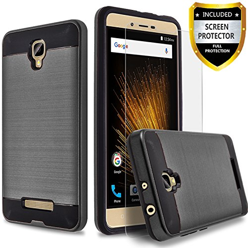 BLU Studio X8 HD Case, Circlemalls 2-Piece Style Hybrid Shockproof Hard Case Cover With [Premium Screen Protector] And Touch Screen Pen (Black)