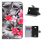 For Sony Xperia E4g , ivencase Lily Flower Wallet Magnetic [Closure] Pattern PU Leather Texture Flip With Built-in Media Stand and Credit Card Slots Protective Case Cover for Sony Xperia E4g / Sony Xperia E4g E2003 E2006 E2053 + One