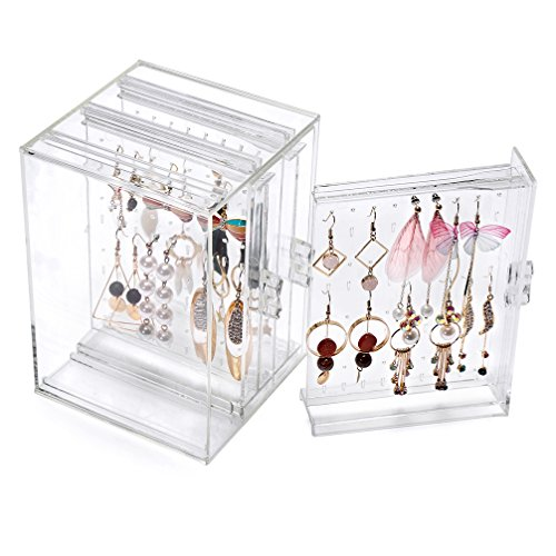 Weiai Plastic Jewelry Storage Box Earring Display Stand Organizer Holder with 3 Vertical Drawer Clear C220-6