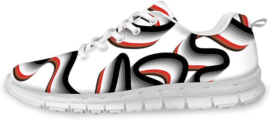 AXGM - Zapatillas de Correr para Hombre, con diseño de Rayas Negras y Rojas, en 3D y con ilusión Visual, Transpirables: Amazon.es: Zapatos y complementos
