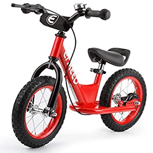 ENKEEO 12'' Sport Balance Bike No Pedal Control Walking Bicycle Transitional Cycling Training with Adjustable Seat and Upholstered Handlebars for Kids Toddlers under 3'11'' Height, Red