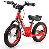 ENKEEO 14 inch Sport Balance Bike No Pedal Control Walking Bicycle Transitional Cycling Training Rubber Tires, Adjustable Seat Upholstered Handlebars Kids Toddlers