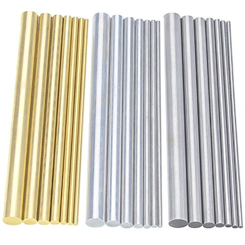 Sutemribor Diameter 2-8mm Brass Round Rods Bar + Stainless Steel Round Rods Bar + Aluminum Round Rods Bar 2-8mm for DIY Craft, 21PCS