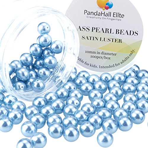 PandaHall Elite 10mm About 100Pcs Tiny Satin Luster Glass Pearl Round Beads Assortment Lot for Jewelry Making Round Box Kit Light - Glass Pearls Light