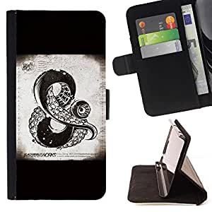 Momo Phone Case / Flip Funda de Cuero Case Cover - Y Muestra Kraken monstruo de mar Negro - Sony Xperia Z1 L39