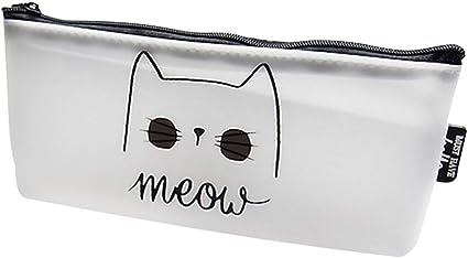Estuche para lápices con diseño de gato y letra, color 1#: Amazon.es: Oficina y papelería