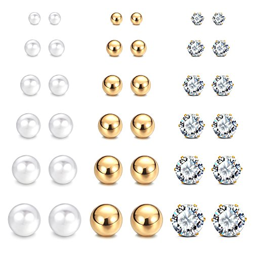 JewelrieShop Stainless Steel Round Ball Studs Cubic Zirconia Studs Faux Pearl Earrings Set for Women (8 Pairs / 18 - Earrings Pearl Bridal Faux