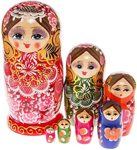 Moonmo 7pcs Beautiful Gold Red Handmade Wooden Russia Nesting Dolls Gift Russian Nesting Wishing Dolls Matryoshka -