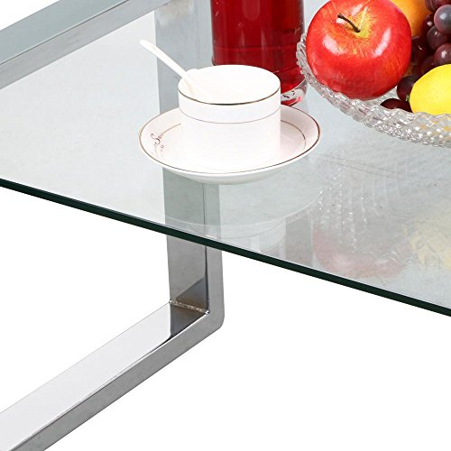 home, kitchen, furniture, living room furniture, tables,  coffee tables 12 discount Topeakmart Modern Design Cocktail Coffee Table Tempered Glass promotion