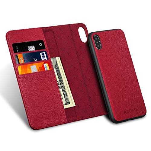 AZOFO iPhone Xs Wallet Case, iPhone Xs Case, Slim [2 in 1] Detachable Magnetic Case Cowhide Leather Flip Folio Cover, Card Holder Slots, Kickstand, Gift Package Compatible iPhone Xs (5.8-inch), Red