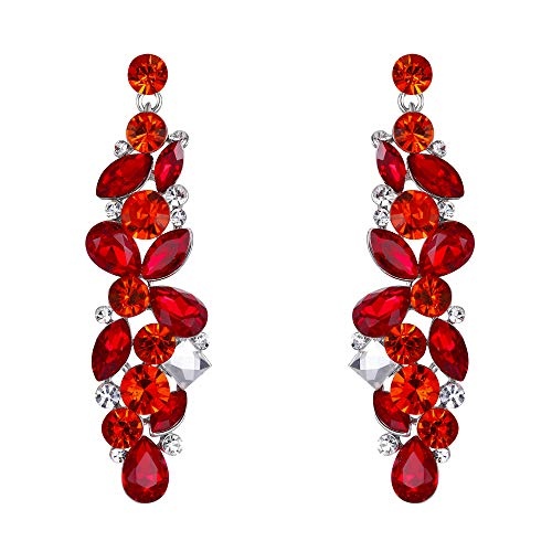 EVER FAITH Tear Drop Flower Cluster Dangle Earrings Ruby Color July Birthstone Silver-Tone ()