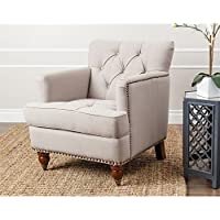 Abbyson Living Misha Tufted Linen Accent Chair in Beige
