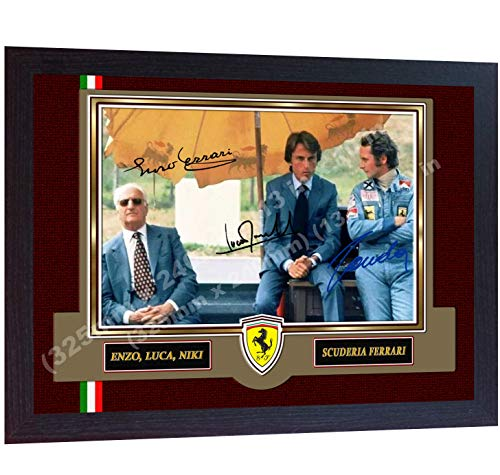 S&E DESING F1 icon Niki Lauda Enzo Ferrari Luca Signed Autographed Photo Print Framed