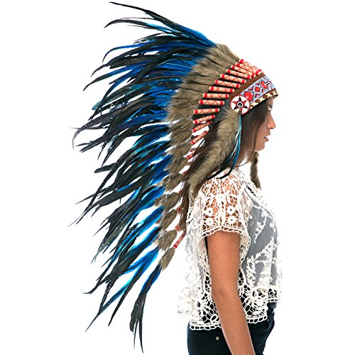 Long Feather Headdress- Native American Indian Inspired- Handmade by Artisan Halloween Costume for Men Women with Real Feathers - Dark Blue Rooster -