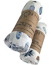 fiouni 2 Pcs Mousseline de Naissance Swaddle Couvertures pour Bébé Swaddle Wraps pour Bébé Douche Cadeau 100% Coton Unisexe Grand Format 120 x 120 cm