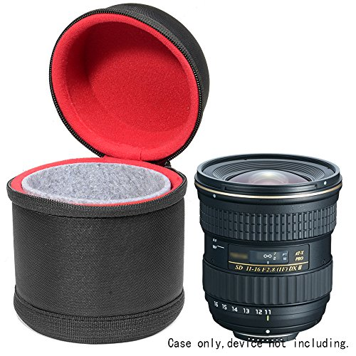 WGear Semi-Hard Lens Case for DSLR Camera Lens (Canon, Nikon, Sony, Pentax, Olympus, Panasonic,etc Listed with Models Below), Medium Size with Carabiner, Lens Cleaning Wipe (Black Medium)