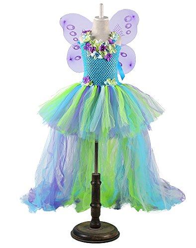 Tutu Dreams Kids Fairy Princess Costume Dress with Wings (Blue, S)