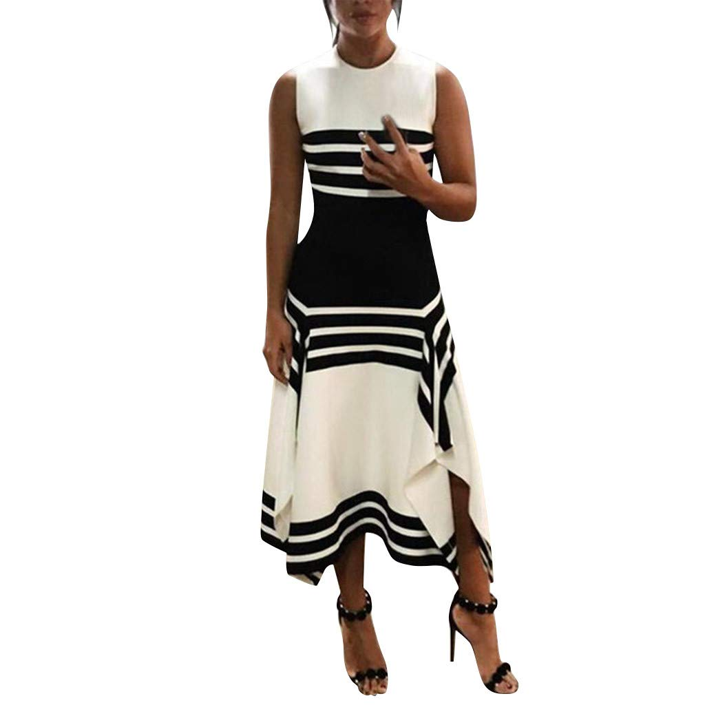 2019 Summer Women's Casual Striped Dress Sleeveless Round Neck Elegant Patchwork Midi Party Dresses Black (White, S)