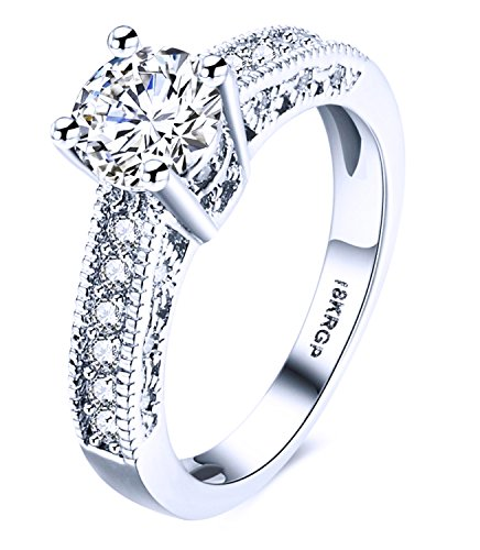 ANDREANGEL Women Engagement or Wedding Ring White Gold 18K / Top Quality Cubic Zirconia Lab Diamond 7 mm AAA+ Princess Cut / Bridal Marriage Anniversary Promise Valentine's Day (18k White Gold Ladies Ring)