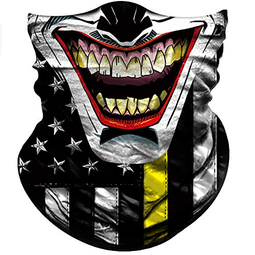 Half Clown Mask (Obacle Motorcycle Face Mask Sun UV Dust Wind Protection Durable Tube Mask Bandana Face Mask for Men Women Bike Riding Cycling Biker Fishing Outdoor Festival (Clown Black Nose One Yellow)