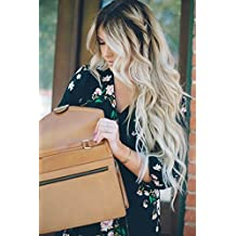 Ugeat 20Inch Front Lace Wig Ombre Off Black Fading to Bleach Blonde Long Wigs Natural Looking Body Wave Brazilian Human Hair Lace Frontal Wigs 130% Density