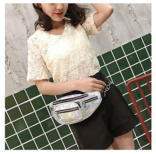 Chaobaobao Pu le Messenger Bag argento Street donne Pocket Fashion Mama Leisure Sport Super Uomini Shining placcato e Bag spalla Fire Laser per donne personalità rSrq4