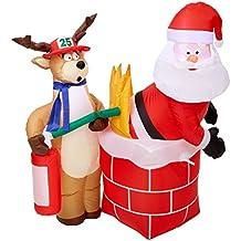 Gemmy Inflatable Holiday G08 87191 Air Blown Santa on Fire Scene Decor