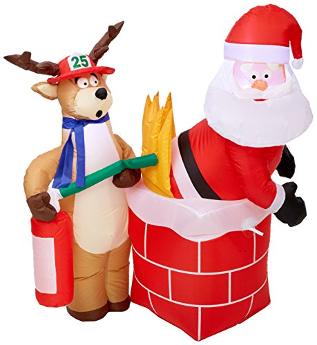 gemmy inflatable holiday g08 87191 air blown santa on fire scene decor - Christmas Blow Ups