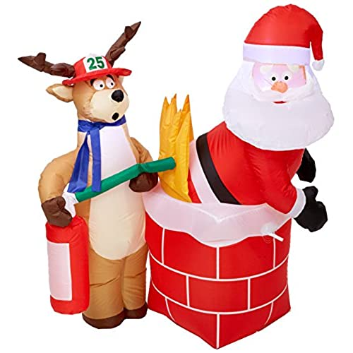 gemmy inflatable holiday g08 87191 air blown santa on fire scene decor - Blow Up Christmas Decorations