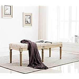 Chairus Fabric Upholstered Entryway Ottoman Bench