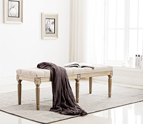 Fabric Upholstered Entryway Ottoman Bench - Classic Bedroom Bench with Rustic Wood Legs - Beige