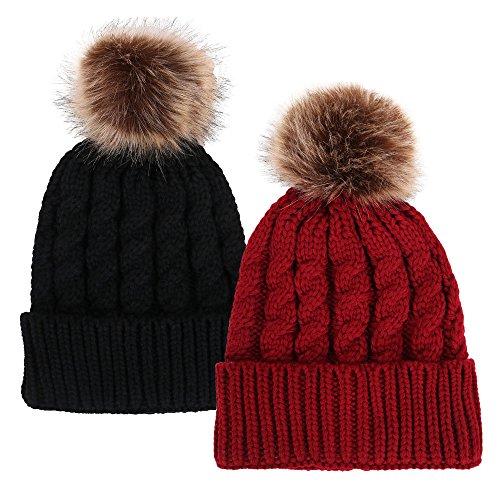 Unisex Winter Hand Knit Faux Fur Pom Pom Beanie 2 Pc Set Black/Burgundy